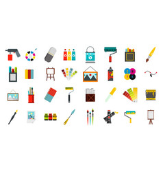 painter tools icon set flat style vector image