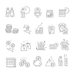 Pension and retirement isolated icons elderly vector