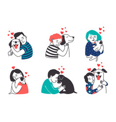 People and pets set vector