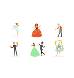 Performer characters playing entertainment vector