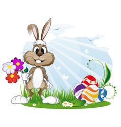 rabbit with easter eggs and flowers vector image