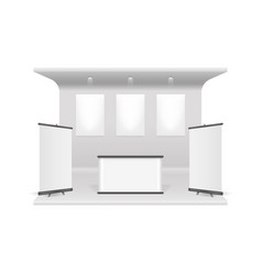 realistic 3d detailed white blank exhibition stand vector image