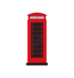 Red retro phone booth flat design vector