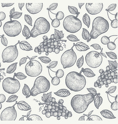retro pattern with fruits vector image