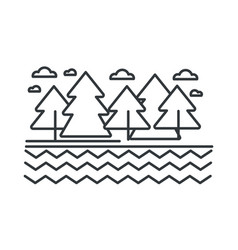 river or lake and trees landscape and wild forest vector image