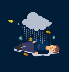 Sad man bad weather depression vector