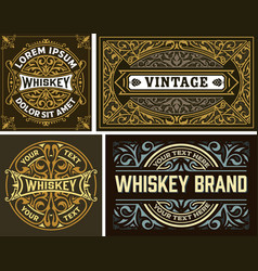 set 4 vintage label whiskey label style vector image