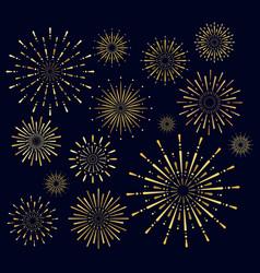 set golden firework salute vector image
