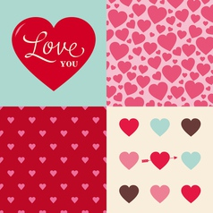 set heart pattern background for valentines day vector image