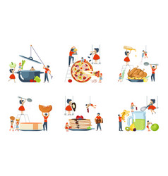 Set of oversize dish and mini people characters vector