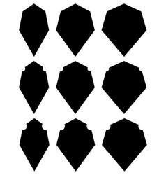 Set of various shield shapes thin thick and vector