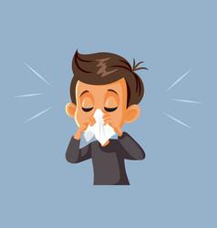 Sick boy blowing his nose having flu vector