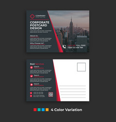 Simple corporate business postcard template design vector