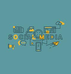 social media orange in blue line design vector image
