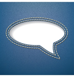 Speech bubble on jeans background vector image