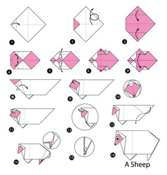 Step instructions how to make origami a sheep vector