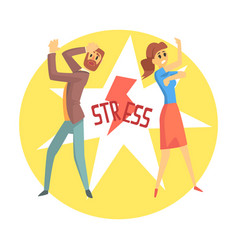stressed man and woman colorful cartoon character vector image
