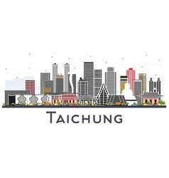 Taichung taiwan city skyline with gray buildings vector