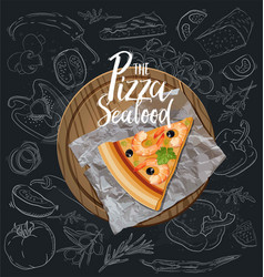 the seafood pizza slice with background vector image