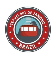 travel rio de janeiro brazil cable car emblem vector image
