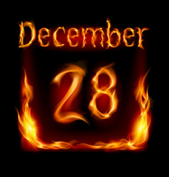 twenty-eighth december in calendar of fire icon vector image
