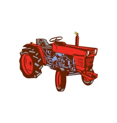 Vintage farm tractor side woodcut vector