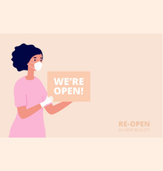 we are open shopping store opening new normal vector image