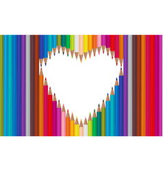 white background with colored pencilsheart frame vector image