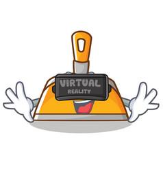 with virtual reality dustpan character cartoon vector image