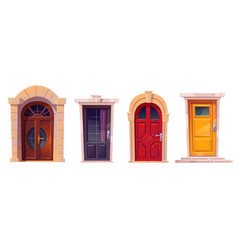 Wooden front doors with stone frame vector