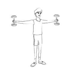 Young man lifting weights sport icon image vector
