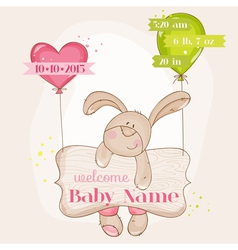 Baby Girl Arrival Card - with Cute Baby Bunny vector image vector image