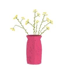 Field wild flower in vase hand drawn cartoon vector image vector image