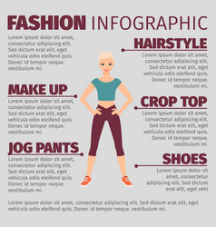 Girl in sports suit fashion infographic vector