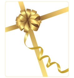 gold beauty bow with ribbon vector image vector image