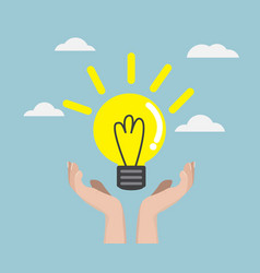 human hand with bulb idea vector image vector image