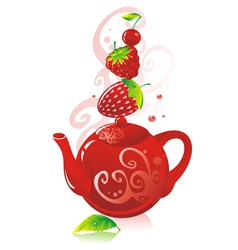 teapot with red berries vector image vector image