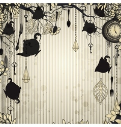Abstract vintage background with tea party theme vector image