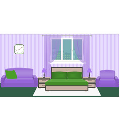 bright colors bedroom interior with furniture and vector image