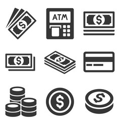 cash money icons set dollars and coins vector image vector image