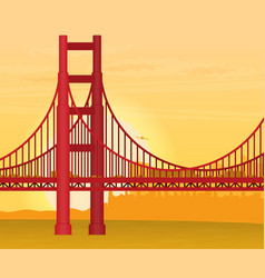 Golden gate bridge flat vector