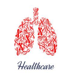 lungs organ healthcare dna symbol vector image