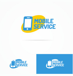 mobile service logo set with silhouette phone vector image vector image