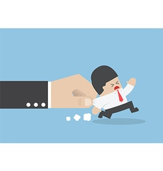 Businessman pulled by large hand vector image