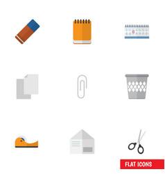 Flat icon equipment set of sheets trashcan vector