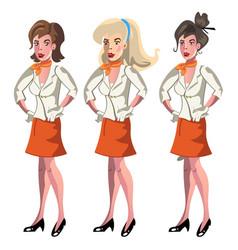 set of 3 stewardesses dressed in uniform vector image vector image
