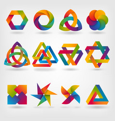 abstract symbol set in rainbow colors vector image vector image