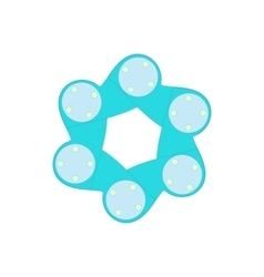 Blue abstract circle icon cartoon style vector image