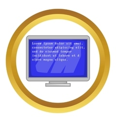 Blue computer screen with text icon vector image vector image