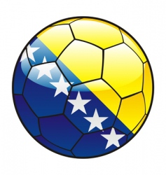 Bosnia and Herzegovina flag on soccer ball vector image vector image